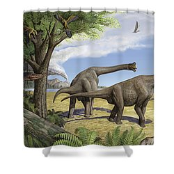 A Raptor Stalks A Pair Of Grazing Shower Curtain by Sergey Krasovskiy