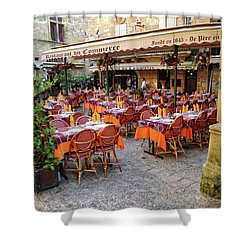 A Restaurant In Sarlat France Shower Curtain by Dave Mills