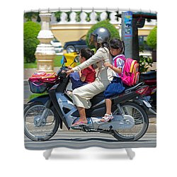 A Ride To School. Shower Curtain by David Freuthal