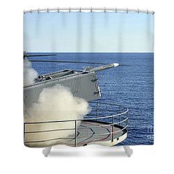 A Rim-7 Sea Sparrow Is Launched Shower Curtain by Stocktrek Images