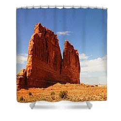 A Rock At Arches Shower Curtain by Jeff Swan