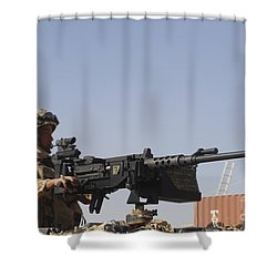 A Royal Marine Manning A .50 Caliber Shower Curtain by Andrew Chittock