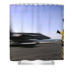 A Sailor Ensures An Fa-18c Hornet Shower Curtain by Stocktrek Images