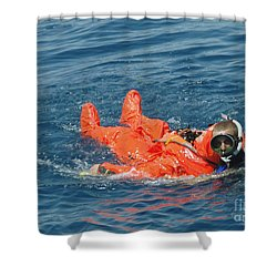 A Sailor Rescued By A Diver Shower Curtain by Stocktrek Images