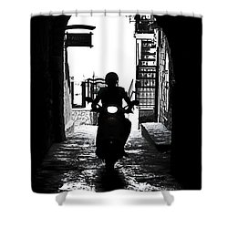 a scooter rider in the back light in a narrow street in Italy Shower Curtain by Joana Kruse