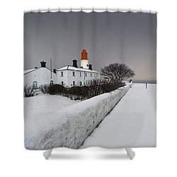 A Snow Covered Fence With A Lighthouse Shower Curtain by John Short