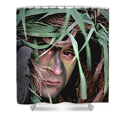 A Soldier Camouflaged In His Ghillie Shower Curtain by Stocktrek Images