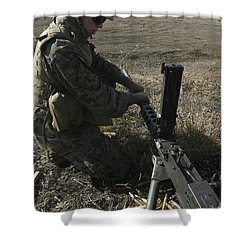 A Soldier Changes The Barrel Of An M2 Shower Curtain by Stocktrek Images