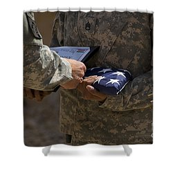 A Soldier Is Presented The American Shower Curtain by Stocktrek Images