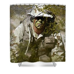 A Soldier Practices Evasion Maneuvers Shower Curtain by Stocktrek Images