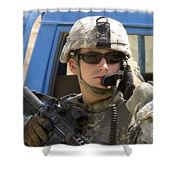 A Soldier Talking Via Radio Shower Curtain by Stocktrek Images