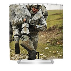 A Soldier Transports A Fellow Wounded Shower Curtain by Stocktrek Images