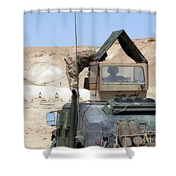 A Soldiier Instructs An Iraqi Army Shower Curtain by Stocktrek Images