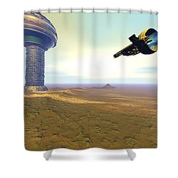 A Spacecraft Nears A Spaceport Shower Curtain by Corey Ford