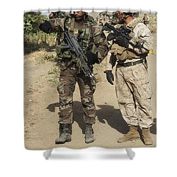 A Spanish Marine Points Out An Shower Curtain by Stocktrek Images