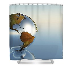 A Sphere Holding North And South Shower Curtain by Corey Ford