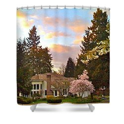 A Spring Evening - Lake Oswego Or Shower Curtain by Anna Porter