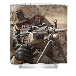 A Squad Automatic Weapon Gunner Shower Curtain by Stocktrek Images