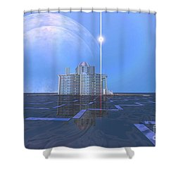 A Star Shines On Alien Architecture Shower Curtain by Corey Ford