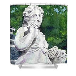 Shower Curtain featuring the painting A Statue At The Wellers Carriage House -1 by Yoshiko Mishina