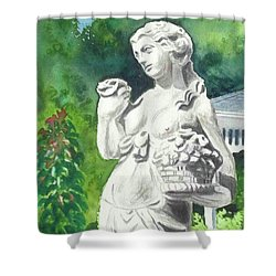 Shower Curtain featuring the painting A Statue At The Wellers Carriage House -2 by Yoshiko Mishina
