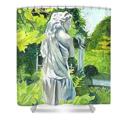 Shower Curtain featuring the painting A Statue At The Wellers Carriage House -3 by Yoshiko Mishina