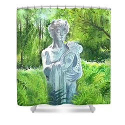 Shower Curtain featuring the painting A Statue At The Wellers Carriage House -4 by Yoshiko Mishina