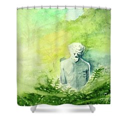 Shower Curtain featuring the painting A Statue At The Wellers Carriage House -5 by Yoshiko Mishina