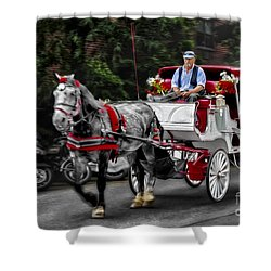 A Stroll Thru The City Shower Curtain by Susan Candelario