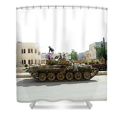 A T-72 Main Battle Tank On The Streets Shower Curtain by Andrew Chittock