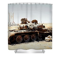 A T-80 Tank Destroyed By Nato Forces Shower Curtain by Andrew Chittock