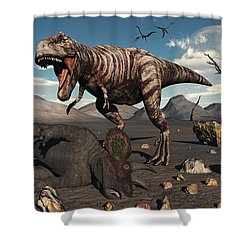 A T. Rex Is About To Make A Meal Shower Curtain by Mark Stevenson