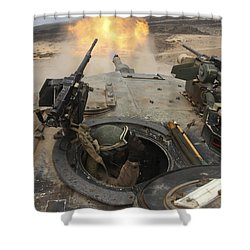 A Tank Crewman Braces Himself Shower Curtain by Stocktrek Images