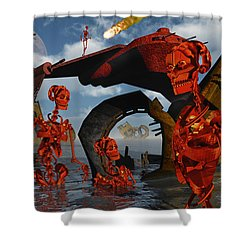 A Team Of Androids Break Down Objects Shower Curtain by Mark Stevenson