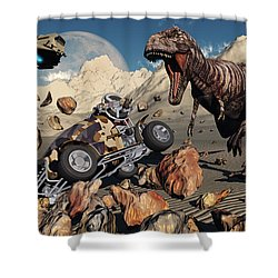 A Team Of Time Travelling Explorers Try Shower Curtain by Mark Stevenson