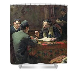 A Theological Debate Shower Curtain by Eduard Frankfort