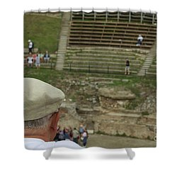 A Tourist And The Ancient Theater Of Taormina Shower Curtain