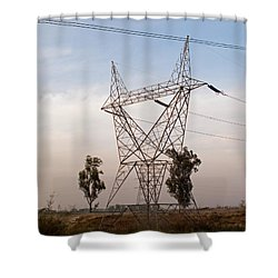 A Transmission Tower Carrying Electric Lines In The Countryside Shower Curtain by Ashish Agarwal