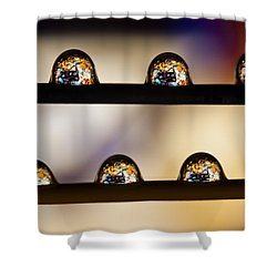 A Treasure Of Dice And Gems Shower Curtain by Marc Garrido