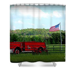 Shower Curtain featuring the photograph A Tribute To The Fireman by Kathy  White