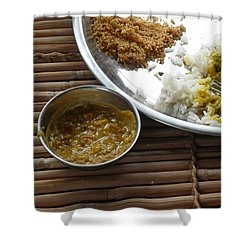 A Typical Plate Of Indian Rajasthani Food On A Bamboo Table Shower Curtain by Ashish Agarwal