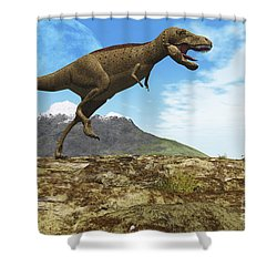 A Tyrannosaurus Rex Dinosaur Walks Shower Curtain by Corey Ford