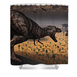 A Tyrannosaurus Rex Spots Two Passing Shower Curtain by Mark Stevenson