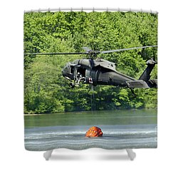 A Uh-60 Blackhawk Helicopter Fills Shower Curtain by Stocktrek Images