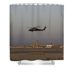 A Uh-60 Blackhawk Helicopter Flies Shower Curtain by Terry Moore