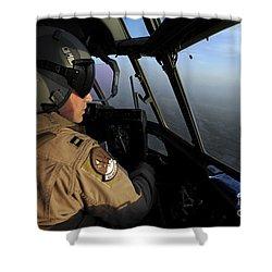 A U.s. Air Force C-130j Hercules Pilot Shower Curtain by Stocktrek Images