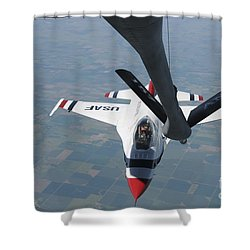 A U.s. Air Force Thunderbird Pilot Shower Curtain by Stocktrek Images
