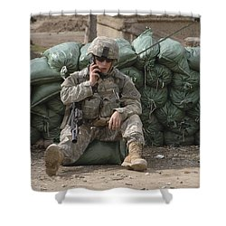 A U.s. Army Soldier Talks On A Radio Shower Curtain by Stocktrek Images