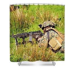 A U.s. Army Soldier Training Shower Curtain by Andrew Chittock