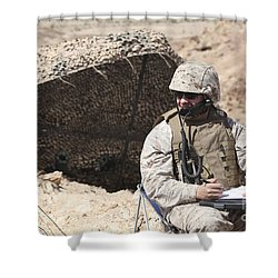 A U.s. Marine Communicates With Close Shower Curtain by Stocktrek Images